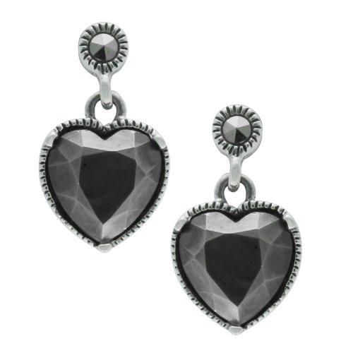 Aura 925 Sterling Silver Marcasite Gemstone Earrings Heart Shape - Free (Marcasite Heart Shape)