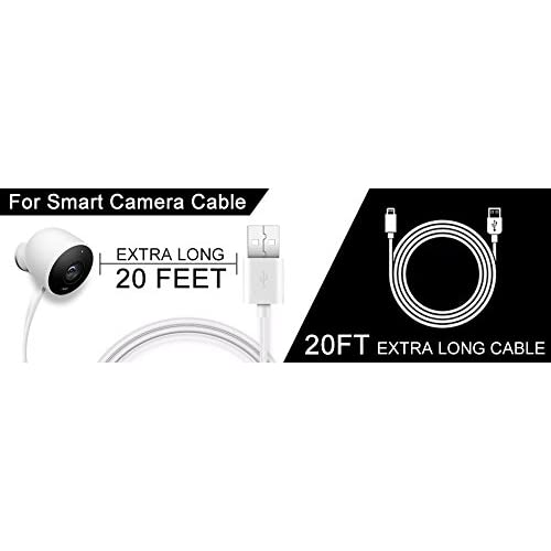 Security Camera Power Extension Cable - 20 Ft Charging Cable