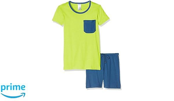 Envie Pijama de niño Fluo con Pantalones Cortos, Lima gallega/Azul Marino, 104-110: Amazon.es: Deportes y aire libre