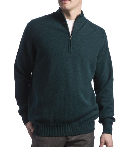 Great and British Knitwear Mens 100% Lambswool Plain 1/4 Zip Pullover-Bottle Green-Large