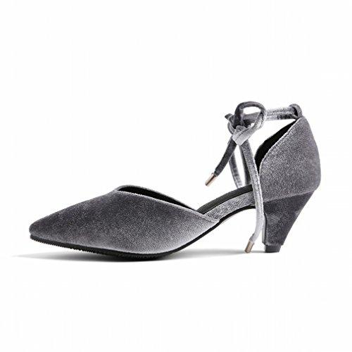 con con D cordones de para tacones Zapatos tacón mujer punta altos y terciopelo Zapatos en 04AxU4
