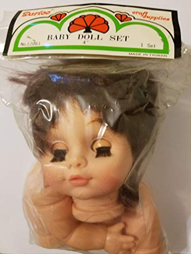 "4"" Plastic Craft Baby Doll Set with Head, Arms & Legs (Brunette)"