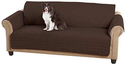 SureFit  Faux Suede Quilted Throw Cover - Sofa (Warm Chocolate),