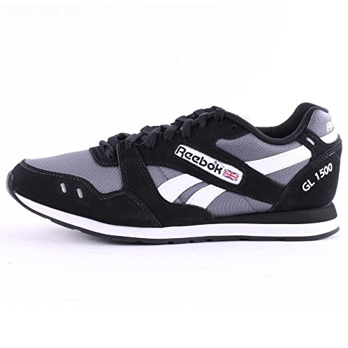 Reebok GL 1500 Mens Suede & Textile Trainers Black Grey - 42 EU
