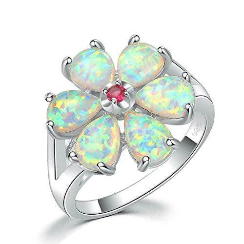 CiNily Flower White Opal Ring,Rhodium Plated Pink Tourmaline Women Jewelry Gemstone Ring Size 6-12