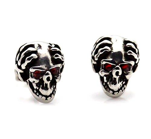 Xusamss Punk Titanium Steel Flame Skull Crystal Eye Stud Earrings (White0) by Xusamss