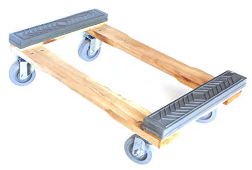 "NK Furniture Movers Dolly, Rubber End Caps, Soft Gray Non-marking TPR Wheels, 30"" Length x 17"" Width (4"" TPR Wheels)"