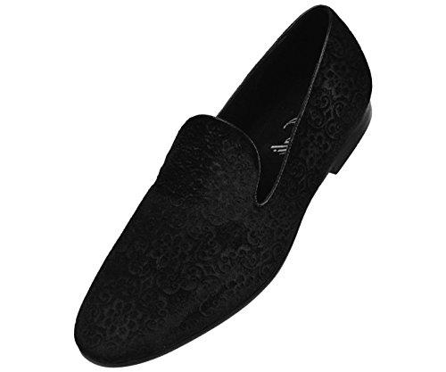 Amali Mens Paisley Velvet Chinese Smoking Slipper, Nightclub Slip on Loafer Dress Shoe, Style Vincent