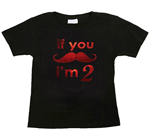Bebe Bottle Sling- If you Mustache I'm 2 (1 black t-shirt), Size 2T