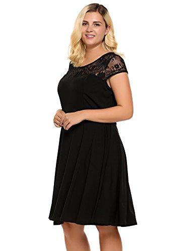 7d6d41fac94 Womens Plus Size Lace Cap Sleeve Fit and Flare Vintage Party Dress –  Involand Ladies High Waist Floral Lace Tea Dress