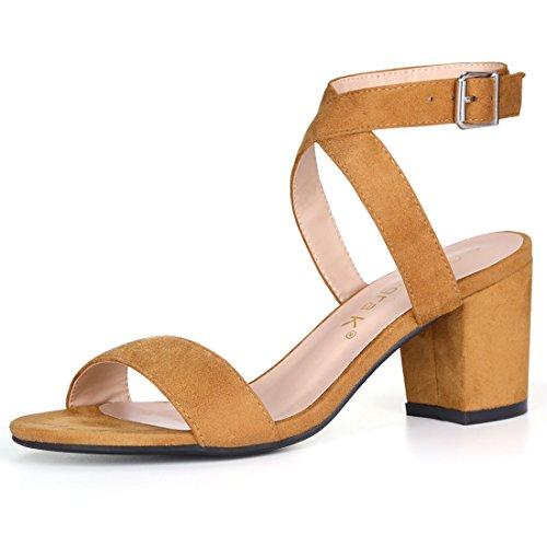 61a869c9556 Allegra K Women s Crisscross Strap Chunky Heel Ankle Strap Slingback Sandals