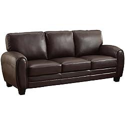 Homelegance 9734DB-3 Upholstered Sofa, Dark Brown Bonded Leather Match