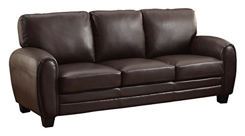 Homelegance 9734DB-3 Upholstered Sofa, Dark Brown Bonded Leather - Dark Brown Sofa Leather
