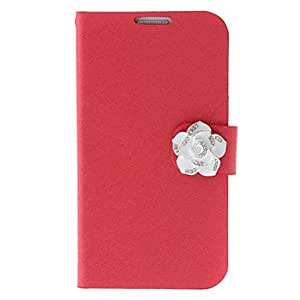 Silk Print and White Camellia Painting Pattern Rhinestone Painting Protective Pouches for Samsung Galaxy S4 I9500 , Blue