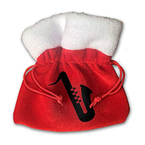 Leisue Saxophone Silhouette Bags Drawstring Santa Sack Decorations