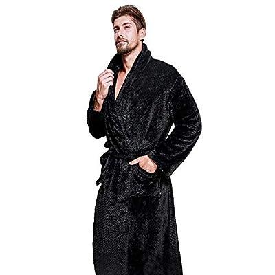 DORIC Men Winter Sexy Pajamas Lengthened Coralline Plush Shawl Bathrobe Long Sleeve Robe Tops Coat