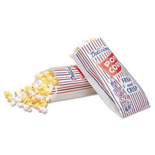 Bagcraft Papercon Pinch-Bottom Paper Popcorn Bag, 4w x 1-1/2d x 8h, Blue/Red/White