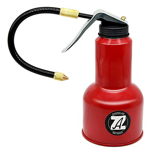 ZHONG AN 500ML Metal High Pressure Feed Oil Spray Gun Bottle Oil Can with Detachable Metal Straight & Flexible Spout