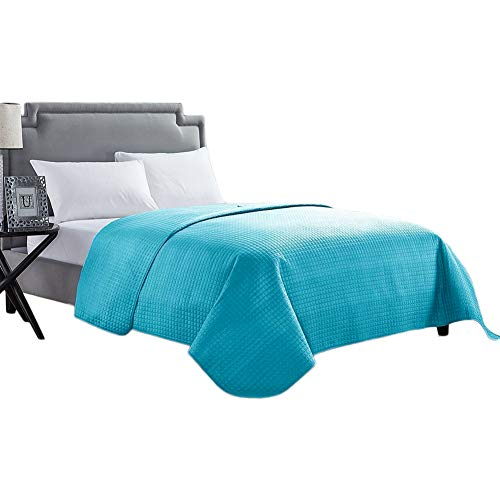 (HollyHOME Solid Color Bed Quilt for Twin Size Bed, Teal)