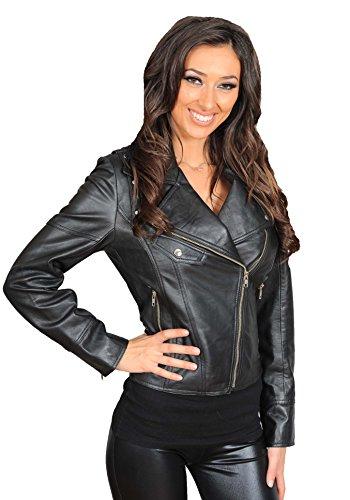 Élégant Fermeture Veste Jessica Dernier Eclair Motard Forme En Style Femmes Noir Cuir Trendy Manteau YqvO8wf