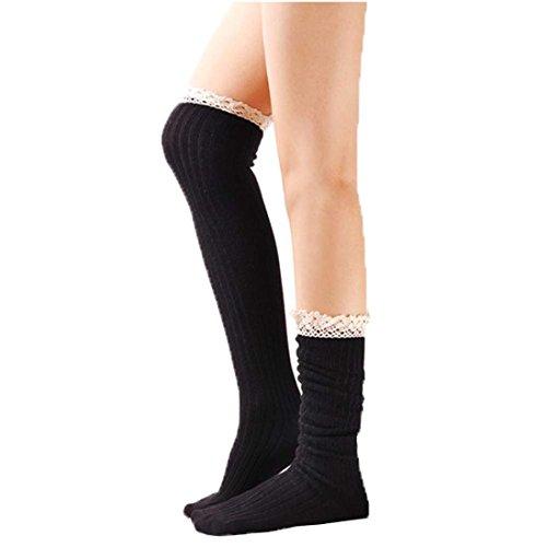 Dzt1968 (md) Longue Au Genou Réchauffe-jambes Bottes Chaussettes Avec Garniture En Dentelle Pour Les Femmes Fille Noir