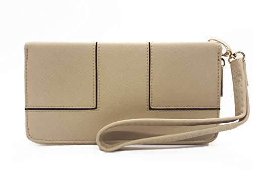 Women's Single Zip Around PVC Leather Wristlet Clutch Organizer Wallet (Beige Fabric Wallet)