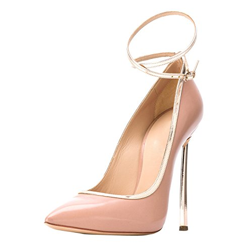 Stiletto Pointed Onlymaker Women's Heels Bowknot Metal Sexy C Toe Shoes High Court pink 0rp0Ewq