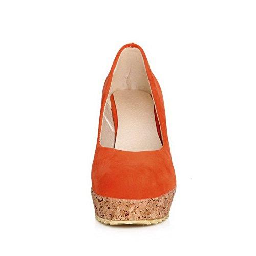 Balamasa Womens Color Matching Tacco Fondo Spesso Tomaie Basse Tomaia Pumps-scarpe Glassate Arancione