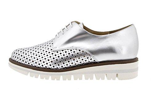 Calzado mujer confort de piel Piesanto 1702 Zapato Cordón cómodo ancho Perla