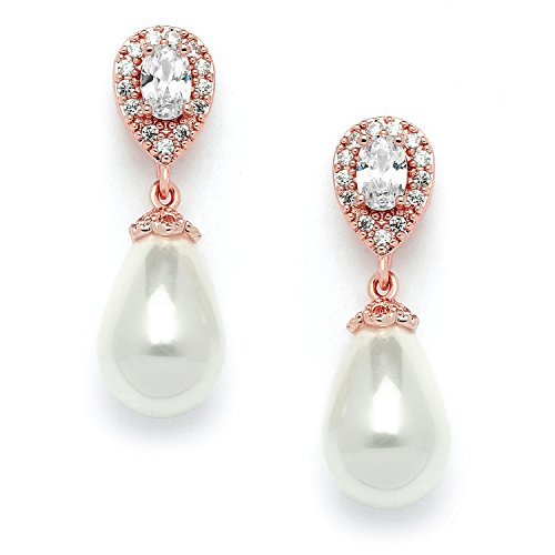 (Mariell Rose Gold Pear-Shaped Cubic Zirconia Wedding Earrings for Brides with Bold Soft Cream Pearl Drops )