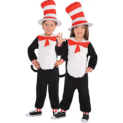 Costumes USA Dr. Seuss Cat in the Hat One Piece Halloween Costume for Toddlers, 3-4T, with Included Accessories]()