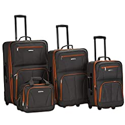 Travel Junkie 41cS%2B3ES3oL._SS247_ Rockland Journey Softside Upright Luggage Set, Charcoal, 4-Piece (14/19/24/28)