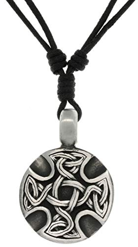 Jewelry Trends Celtic Medallion Pewter Pendant Necklace Adjustable Black Cord ()