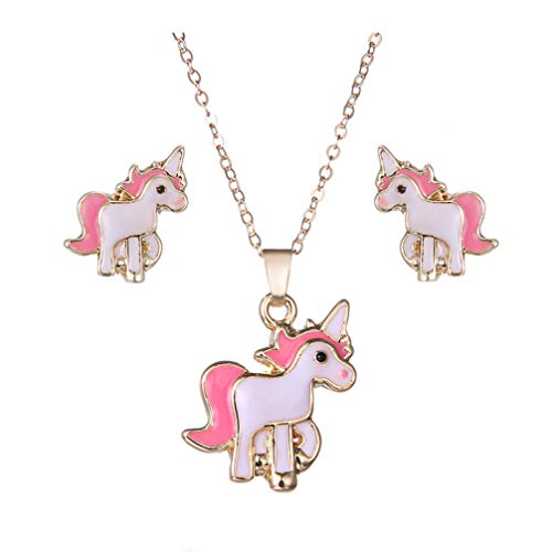 Myhouse Cute Unicorn Shaped Necklace and Earring Stud Set Alloy Charm Gifts for Women Girls