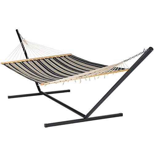 Quilted Hammock and Tribeam Stand (Charcoal and Grey Stripe with TRIBEAM Stand Black)