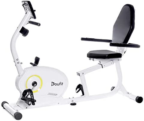 Doufit Recumbent Exercise Bike Stationary for Seniors and Adults, EB-02 Indoor Magnetic Exercise Bike for Home with 8 Resistance Levels and Adjustable Seat