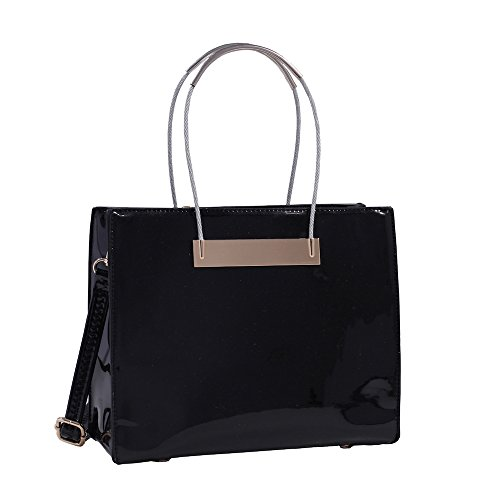 Beautiful Vegan Black Glossy Isabelle Handbag