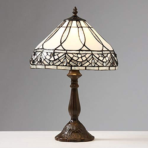 White Jewels Table Lamp, Lamp is Handcrafted, 34 Hand-cut Pieces of White Stained Glass Hand-Wrapped in Copper Foil, 27 Cabochons add a Bejeweled Finishing Touch, Requires One 60-watt Light Bulb