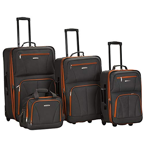 Rockland Journey Softside Upright Luggage Set, Charcoal, 4-Piece (14/19/24/28)