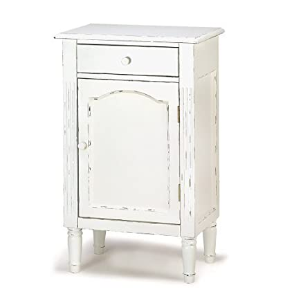 Antiqued Distress White Finish Cabinet Table Nightstand - Amazon.com: Antiqued Distress White Finish Cabinet Table Nightstand