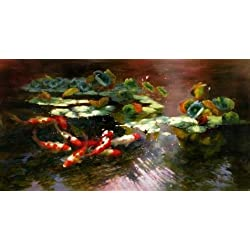 Perfect Effect Canvas ,the High Quality Art Decorative Prints On Canvas Of Oil Painting 'Carps In Lotus Pond', 8x8 Inch / 20x20 Cm Is Best For Living Room Gallery Art And Home Artwork And Gifts