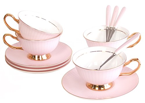 NDHT Set of 4 Bone China Teacups/Coffee Cups & Saucers Sets with Spoons-10.2Oz, for Home, Restaurants, Display & Holiday Gift for Family or Friends,Pink,With Two Gift (Holiday Cup Saucer)