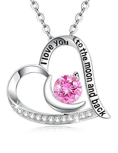 Pink Tourmaline Moon and Heart Pendant Necklace Sterling Jewelry Birthday Anniversary Christmas Gifts for Womans