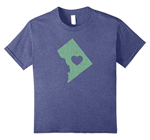 unisex-child Washington D.C. ''Love Heart'' T-Shirt (Gray Green) 12 Heather Blue by Washington DC Shirt / Washington D.C. Gifts