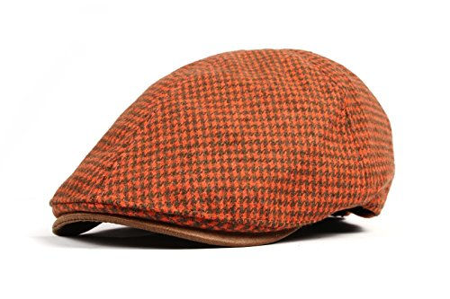 WITHMOONS Tweed Newsboy Hat faux leather brim Flat Cap SL3019 (Orange)