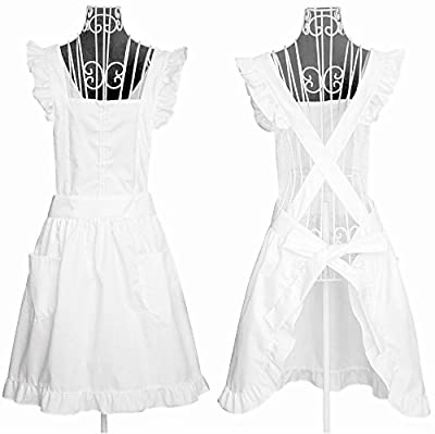 IB-ON White Apron for Women & Girls sizes s-m Comfortable Fabric in Gift Box