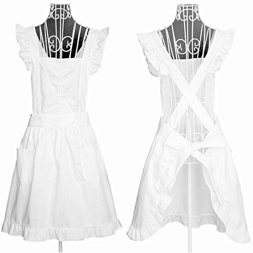 IB-ON Aprons for Women & Girls Sizes S-XL Cute White Retro Lady's Maid Costume with Pockets -