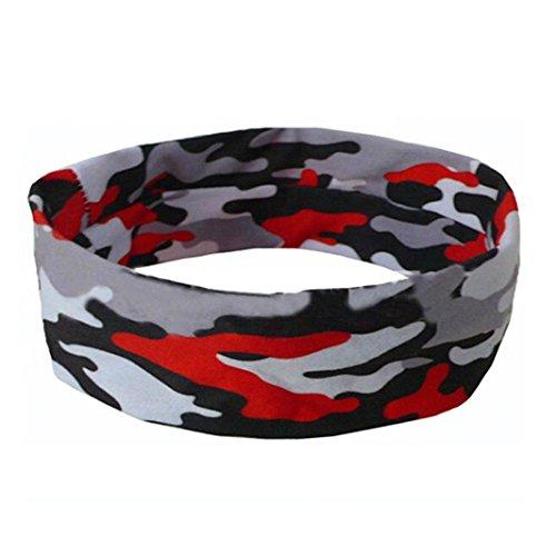 Sothread Women Men Camouflage Yoga Gym Stretch Head Band Hairband Sport Sweatband (A)