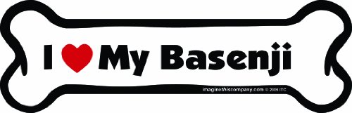 Imagine This Bone Car Magnet, I Love My Basenji, 2-Inch by 7-Inch