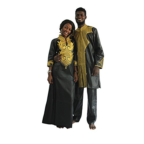 HD Dashiki African Couple Clothing for Woman,Traditional Bazin Maxi Wedding Dress,F-Black 4XL